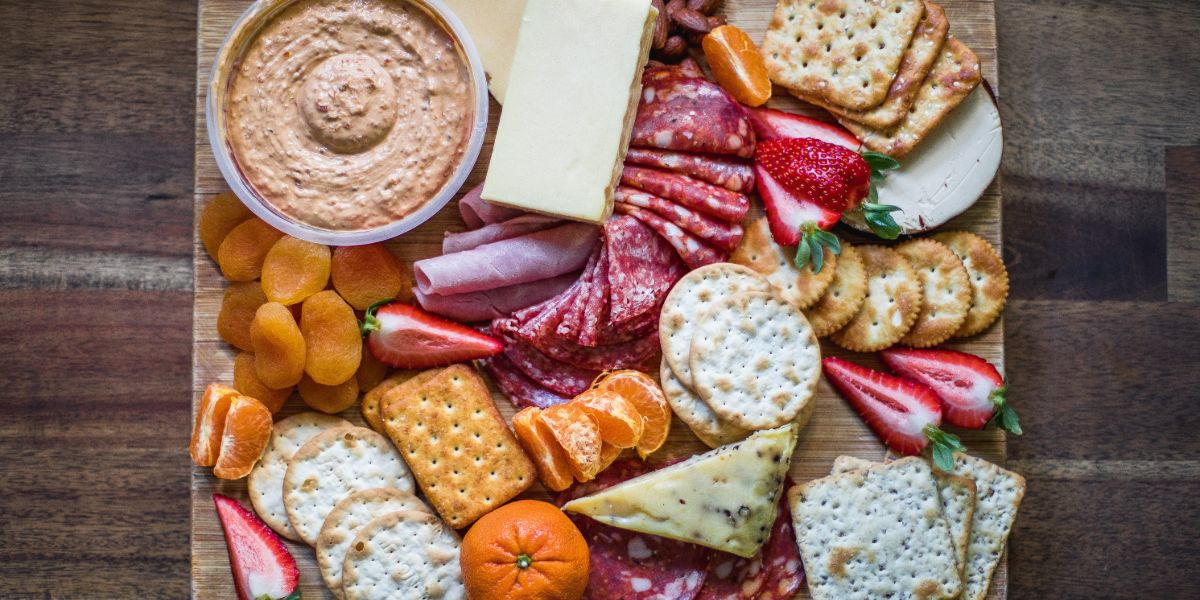 Crackers, Cheese, and Fruits