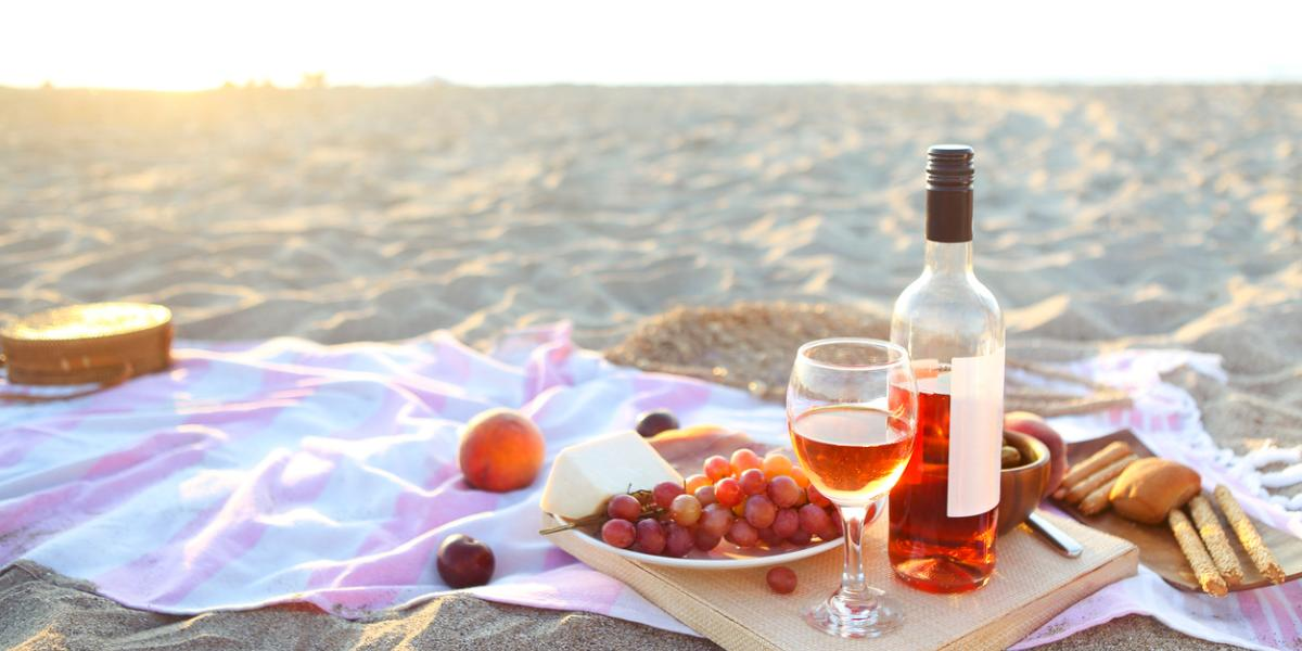 Picnic Outdoors With Rose Wine